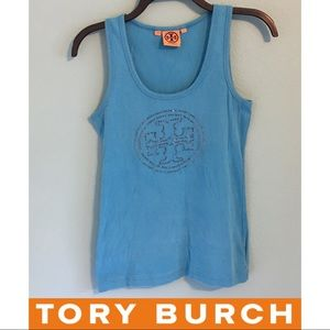Tory Burch Bling Tank Top Blue Small Embellished